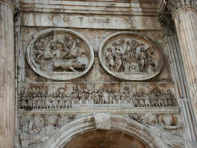 Arco de Constantino: cara norte. Clipeos de Adriano