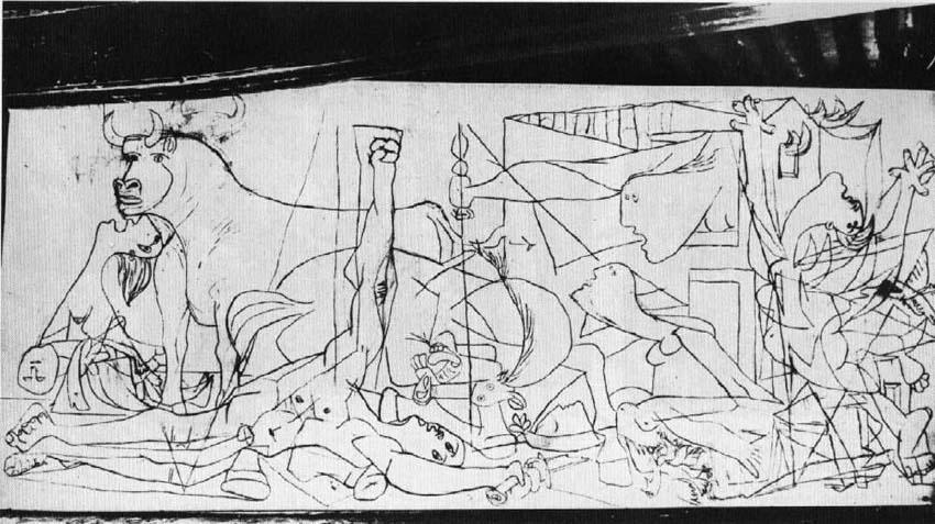 Cuadro Guernica de PIcasso utilizado en la entrada Diferentes formas de plantear un cuadro en Picasso y Matisse  en donde se comentan las distintas formas de empezar y acabar una obra en el trabajo de Picasso y en el de Matisse. Y como esto deriva de diferentes formas de entender el arte. Escrito por Juan Sánchez Sotelo para la Academia de dibujo y pintura Artistas6 de Madrid. Clases y cursos para aprender a dibujar y pintar. Clases de arte. Análisis de  cuadros.